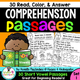 Reading Comprehension Passages - Read, Color & Answer {Set 1- Short Vowels}