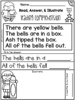 Reading Comprehension Passages - Read, Color & Illustrate {Set 2- Short Vowels}