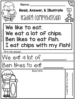 Reading Comprehension Passages - Read, Illustrate & Answer {Set 2} ~FREEBIE~