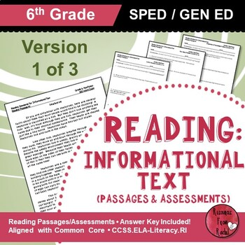 Reading Comprehension Passages - Reading Informational Text Grade 6 (Version 1)