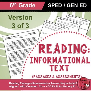 Reading Comprehension Passages - Reading Informational Text Grade 6 (Version 3)