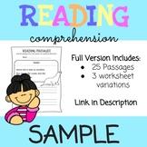 Reading Comprehension Passages SAMPLE Worksheet / K-First grade