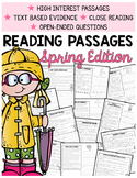 Spring Comprehension | 2nd Grade Comprehension Passages |Text-Based Evidence