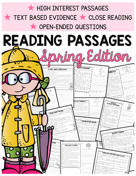 Spring Comprehension   2nd Grade Comprehension Passages  Text-Based Evidence