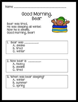 Reading Comprehension Passages Spring Themed: Guided Reading Level C