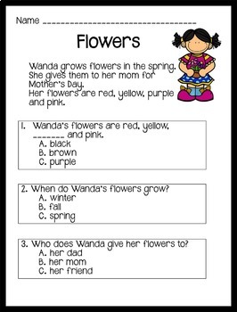 Reading Comprehension Passages Spring Themed: Guided Reading Level D