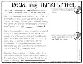Reading Comprehension Passages ~ Stop and Think 3rd Grade