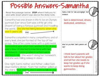 Reading Comprehension Passages and Questions Stop and Think 3rd Grade