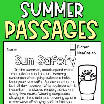 Reading Comprehension Passages (Summer Fun) for Second Graders