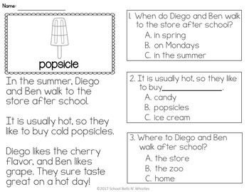 Reading Comprehension Passages / Summer Theme