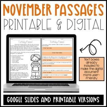 November Reading Comprehension Passages