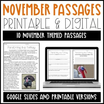 Leveled Text: November Reading Passages