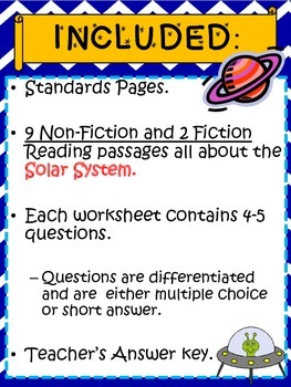 Reading Comprehension Passages - The Solar System