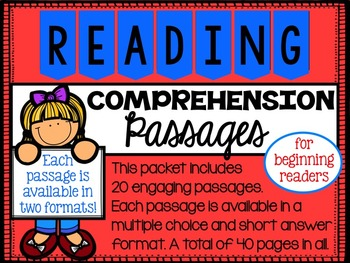 Reading Comprehension Passages Two Formats