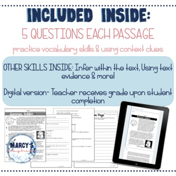 VOCABULARY & Context Clues Reading Passages Activity 4th grade & 5th grade