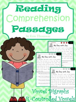 Reading Comprehension Passages ~ Vowel Digraphs and R-Cont