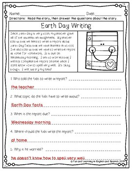 """Reading Comprehension Passages & Questions (""""WH"""" Questions)-2nd Edition {April}"""