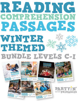 Reading Comprehension Passages Winter Themed Bundle: Guided Reading Levels C-I
