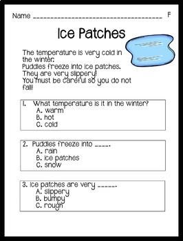 Reading Comprehension Passages Winter Themed: Guided Reading Level F