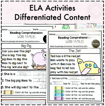 Reading Comprehension Word Families
