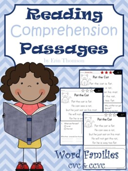 Reading Comprehension Passages ~ Word Families {CVC and CCVC}