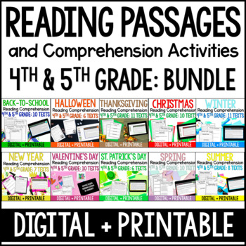 Reading Comprehension Passages and Activities 4th and 5th Grade