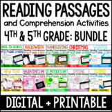 Reading Comprehension Passages and Activities 4th and 5th Grade w/ Digital