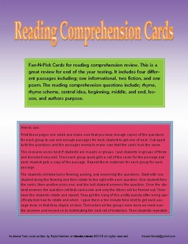 Reading Comprehension Passages and Cards