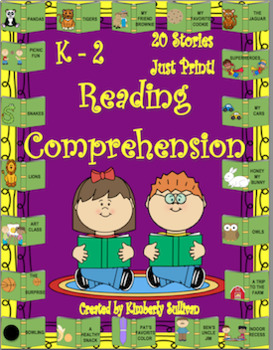 Reading Comprehension Passages and Questions 20 Stories  K - 2