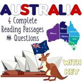 """Reading Comp Passages and Questions """"Australia"""" -  4 TOPICS - Distance Learning"""