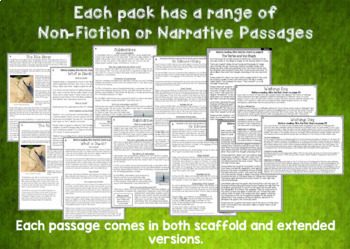 Reading Comprehension Passages and Questions BIG BUNDLE TWO NZ