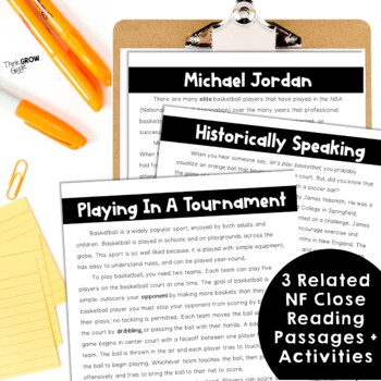 Reading Comprehension Passages and Questions Basketball Close Reading