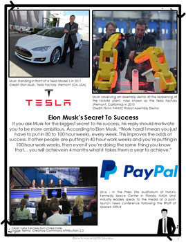 Elon Musk Close Reading Passage and Questions