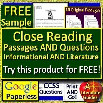 Reading Comprehension Passages and Questions Close Reading Bundle - FREE Sample!