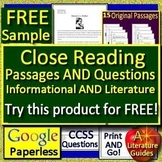 Reading Comprehension Passages & Questions Distance Learning GOOGLE CLASSROOM