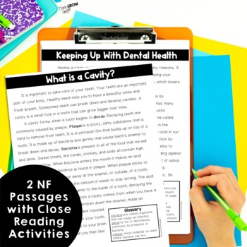 Reading Comprehension Passages and Questions Dental Health Close Reading