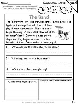 Reading Comprehension Passages and Questions FREEBIE