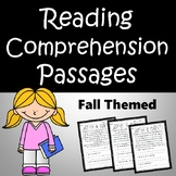 Reading Comprehension Passages and Questions - Fall Themed Grades 3-5