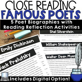 Reading Comprehension Passages and Questions Famous Poets