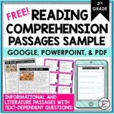 Reading Comprehension Passages and Questions Free 3rd Grade   Distance Learning