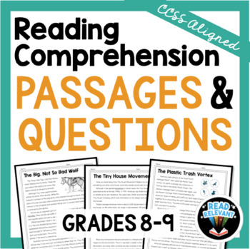 Reading Comprehension Passages and Questions Grades 8-9