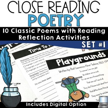 Poetry Close Reading Comprehension Passages and Questions