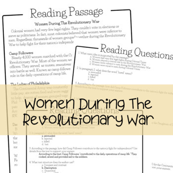 Reading Comprehension Passages and Questions - Revolutionary War Topics