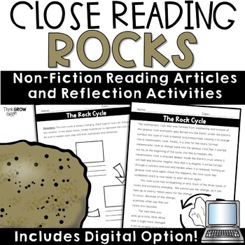Reading Comprehension Passages and Questions Rocks Nonfiction Close Reading