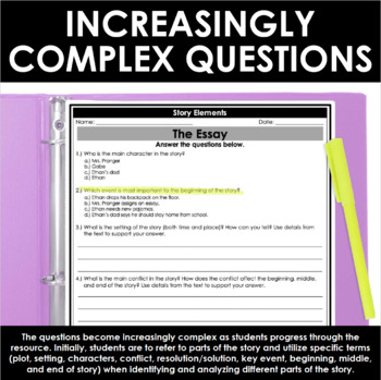 Reading Comprehension Passages and Questions - Story Elements - Plot