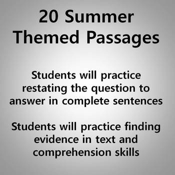 Reading Comprehension Passages and Questions - Summer Themed Grades 3-5