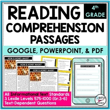Reading Comprehension Passages/Questions Informational 4th   Distance Learning
