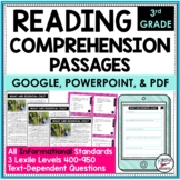Reading Comprehension Passages and Questions Text Dependent Analysis Third Grade