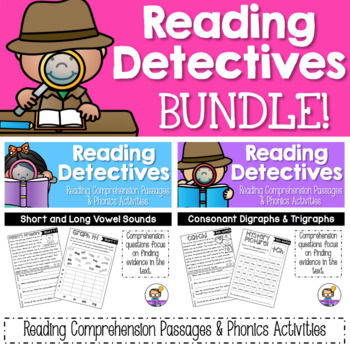 Reading Comprehension Passages and Questions with Phonics Activities BUNDLE