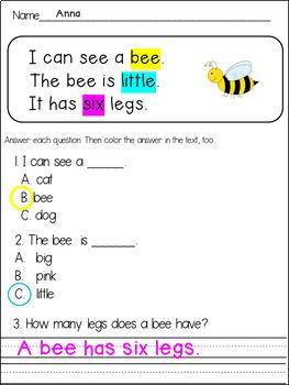 Reading Comprehension Passages for Kindergarten